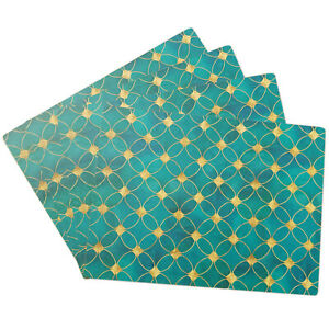 Set of 4 Blue Green & Gold Art Deco Cork Placemats Geometric Dining Table Mats