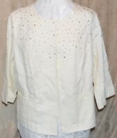 JOAN RIVERS SO PRETTY TEXTURED 3/4 SLEEVE JACKET W/PEARL & CRYSTAL ACCENTS LARGE