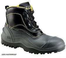 MENS S5 STOP-RAIN SAFETY STEEL TOE CAP MIDSOLE RUBBER WATERPROOF WORK BOOTS SZ