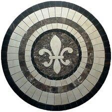 Floor Marble Round Medallion Fleur de Lis Travertine Tile Mosaic 36 inches