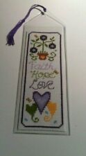 Cross Stitch Bookmark: Faithy Hope Love Completed/finished