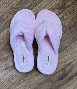 Dearfoams Pink/Plush MF Slippers Rubber GS  Machine Washable 7/8 NEW! UNISEX!