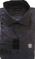 NWT J. FERRAR Black w/Pinstripe 100% Soft Cotton 15 1/2x32/33 Spread Collar 1303