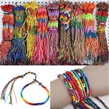 Rainbow Woven Handmade Braid Strand Cuff Friendship Cord Bracelet Boho Women