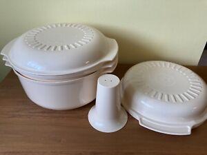 Tupperware TupperWave Stack Cooker 5 Pc ~ Cone; 1, 1 3/4, 3 qt Casseroles, Cover
