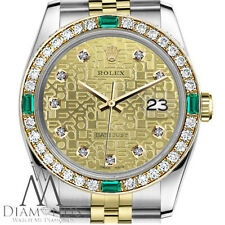 18K Rolex 31mm Datejust 2 Tone Real Diamond Emerald Champagne Gold Steel Jubilee