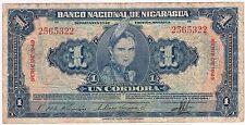 NICARAGUA  / 1 CORDOBA 1949 SERIES NUMBER 2565322 KM#91a