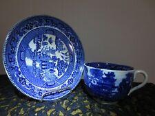 1911 Buffalo Semi Vitreous Pottery Blue Willow Tea Cup & Matching Saucer Antique