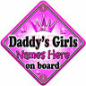 NEW   GEM JEWEL DADDY'S GIRLS   PRINCESS Personalised Baby on Board Car Sign