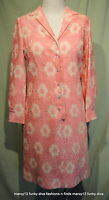 "Chic Vintage 60's Pink Lace Short Cocktail Shirt Dress Rhinestone Trim Bust 36"""