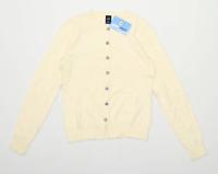 Gap Womens Size S Cotton Blend Cream Jewelled Buttons Cardigan (Regular)