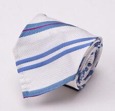 NWT $250 CESARE ATTOLINI Handmade Silk Tie White-Sky Blue-Magenta Stripe