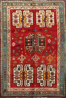 Vintage RED Tribal Geometric Area Rug Wool Hand-knotted Oriental Carpet 7'x9'