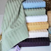 "USA Sheets 600TC 100% Egyptian Cotton 4PC Sheet Set Striped 12"" Deep Pocket."