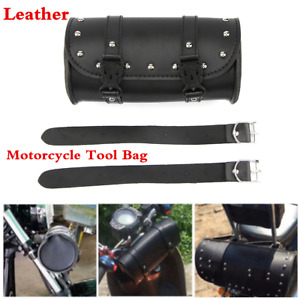 Motorcycle Handlebar Sissy Bar Pannier Saddle-bag Leather Roll Barrel Tool Bag