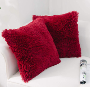 2 Pk NordECO Furry Faux Fur Pillow Cover Case Square 18x18 Zipper Red Maroon NEW