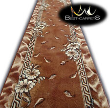 Modern Hall Carpet Runner BCF TRIO brown Stairs Width 60cm-200cm extra long RUGS