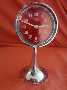 Rare Mid Century Vintage Retro German Blessing Pedestal Chrome Alarm Clock