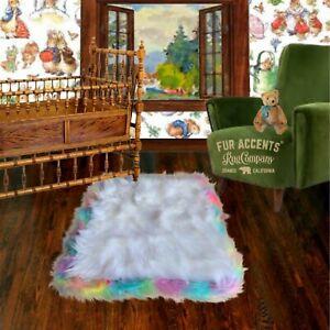 Fluffy Soft Shag Faux Fur Accent Rug, White, Rainbow Trimmed Rectangle, Nursery