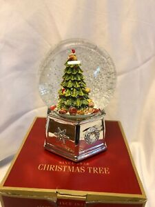 "SPODE Christmas Tree MUSICAL SNOW GLOBE Music Box Large 7"" TREE SNOWGLOBE"