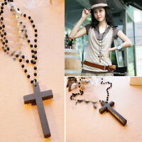 Black Beads Cross Pendant Necklaces Long Chains Necklaces  Trendy Women Jewelry
