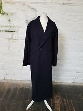 Jaeger Ladies Vintage Long Oversize Coat Doble Breasted Size 14 Navy Blue