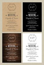 Wedding Invitations Rustic Vine Wreath 50 Invitations & RSVP Cards