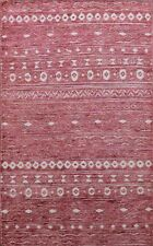Ikat Design Mauve Color Moroccan Oriental Area Rug Hand-Knotted Wool Carpet 5x8