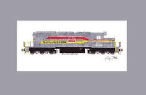 "Family Lines (SCL) SD40-2 #8089 11""x17"" Matted Print Andy Fletcher signed"