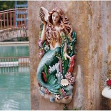Colorful Nautical Seashell Mermaid Wall Sculpture Ocean Theme Decor Plaque