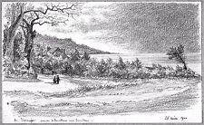 LÉON BERVILLE DESSIN ORIGINAL 1900 VASOUY HONFLEUR Promenade Calvados Normandie