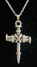 "Nail Cross Crucifix Pendant Necklace Nice! New 18"" 925 Sterling Silver Chain"