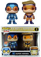 Funko POP! DC Heroes ~ BLUE BEETLE & BOOSTER GOLD METALLIC VINYL FIGURE SET ~ JL