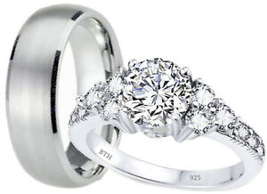 His And Hers Titanium /925 Sterling Silver Wedding Engagement Ring Band Set