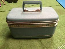 Vintage Ladies Blue SAMSONITE Train Case Cosmetic Bag key & tray Silhouette