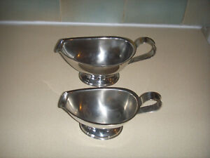 2 x Stainless Steel Gravy / Sauce Boats ( Different Sizes )