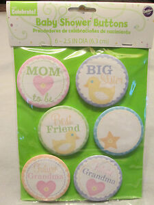 Wilton Baby Shower Buttons 6 Count - Mom, Grandma, Sister + - FREE SHIP!!! NEW