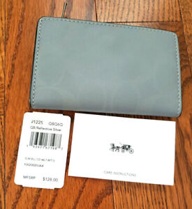 NEW COACH CC Bifold Card Wallet 3M REFLECTIVE $128 MSRP Canvas Zip Silver NWT