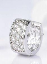 Gents Mens Single Earring 18K White Gold Diamond Huggie Hoop Earring 414