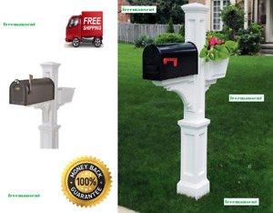 Mayne Westbrook White Polymer Support Mailbox Post with Flower Planter Arm, New!
