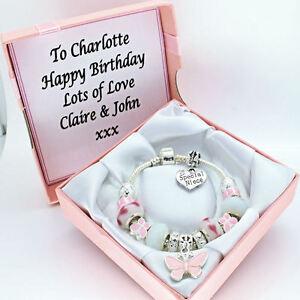 Pink White Bracelet PERSONALISED BOX Girls Birthday Jewellery Gifts FREEPOST