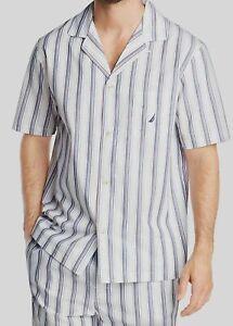 $65 Nautica Men's White Blue Cotton Striped Sleepwear Top Pajama Shirt Size M