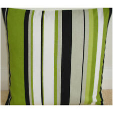 "NEW 16"" Cushion Cover Green Black Grey White Stripes Lime Henley Kiwi Stripe"