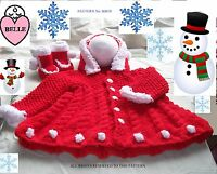 Baby coat knitting pattern in chunky yarn. with hood + booties, in 6 sizes. girl