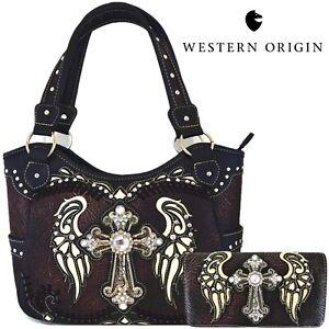 Western Cross Wings Handbag Concealed Carry Purse Women Shoulder Bag / Wallet