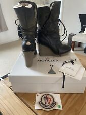 Moncler Sherling Suede Wedge Boots Uk 4 Eu 37