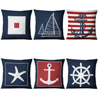 Cushion Cover Blue Anchor Sailor Nautical American Marine Style  Pillows Cover