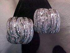 *ESTATE*8.12ctw ROUND & BAGUETTE CUT G/VS1 DIAMOND STUD EARRINGS 14K WHITE GOLD
