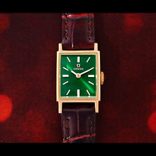 VINTAGE COLLECTABLE OMEGA LADIES MANUAL SOLID GOLD GREEN DIAL WATCH