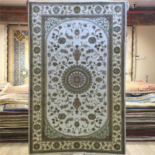Yilong 2.5'x4' White Hand Knotted Silk Carpet Home Decor Handmade Area Rug Y011C